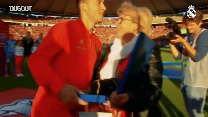 Eden Hazard receives tribute on reaching 100 international caps
