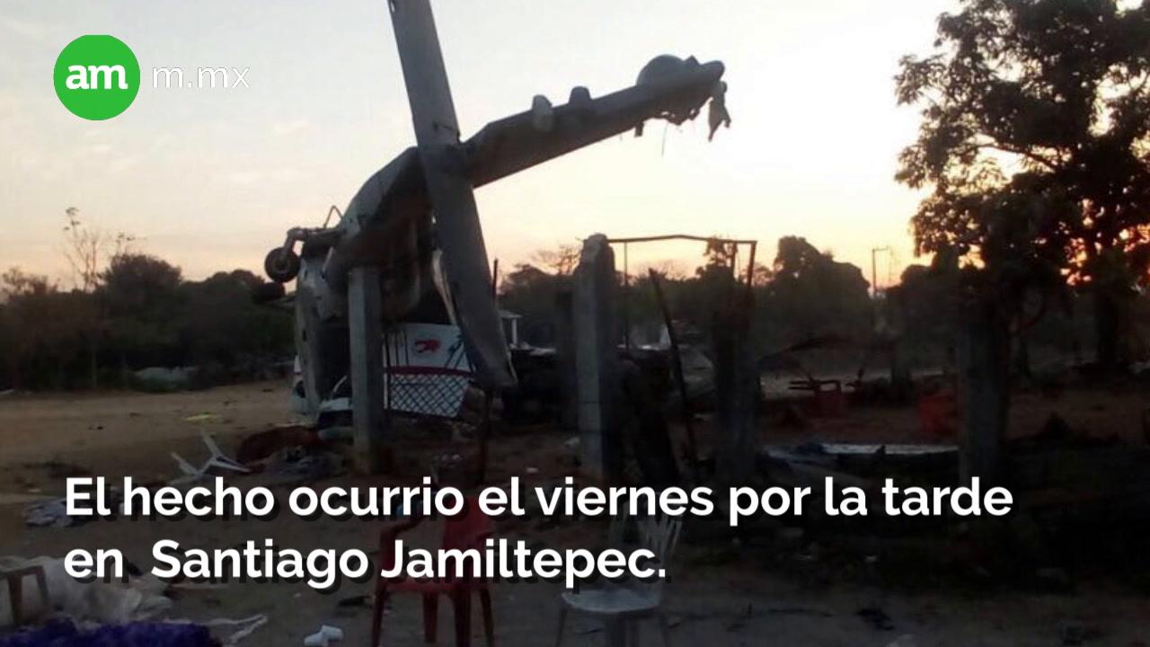 Provoca pánico helicóptero que cayó sobre familias
