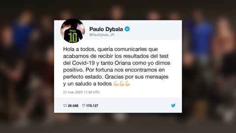 Paulo Dybala da positivo por coronavirus