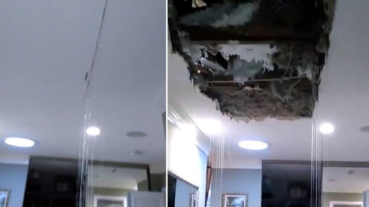 Huseier oppdager lekkasjen - så faller taket sammen