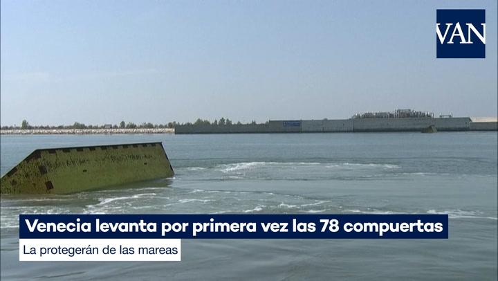 Venecia levanta por primera vez las 78 compuertas que la protegerán de las mareas