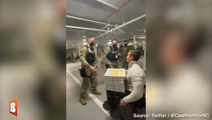 Rep. Cawthorn Buys Pizza for National Guard Troops Forced to Sleep in Senate Parking Garage