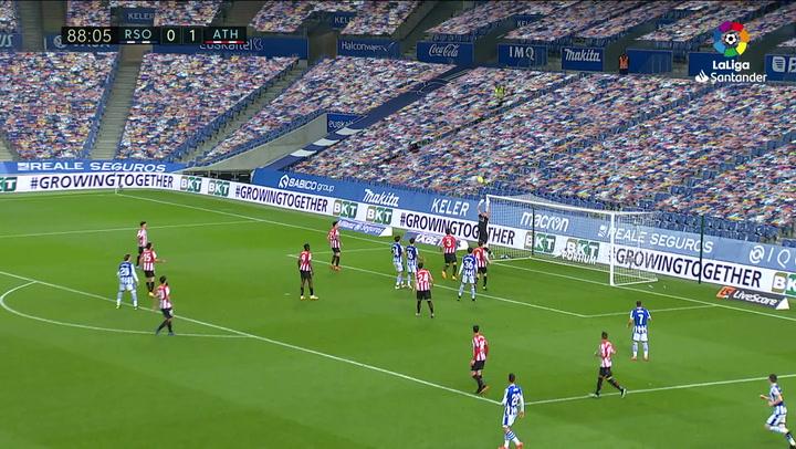 Gol de Roberto López (1-1) en el Real Sociedad 1-1 Athletic