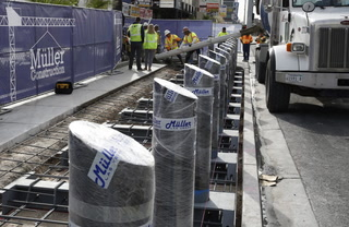 800  steel posts protect pedestrians on the Las Vegas Strip