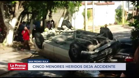 Cinco menores heridos deja accidente en San Pedro Sula
