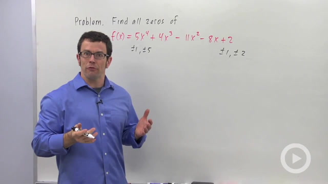 Finding Zeros of a Polynomial Function - Problem 1