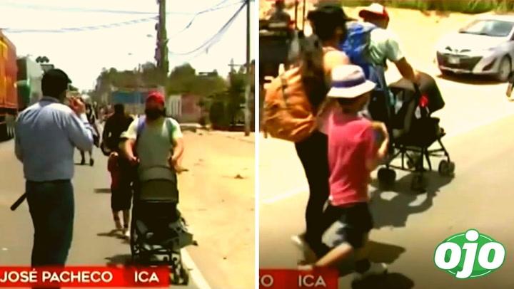 Padre de familia con su bebé de 1 año regresa caminando a Lima tras quedarse varado en Ica por el paro agrario