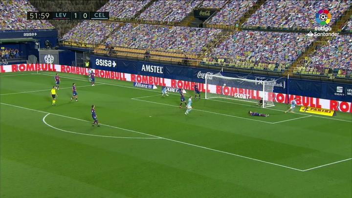 Gol de Carreira (1-1) en el Levante 1-1 Celta