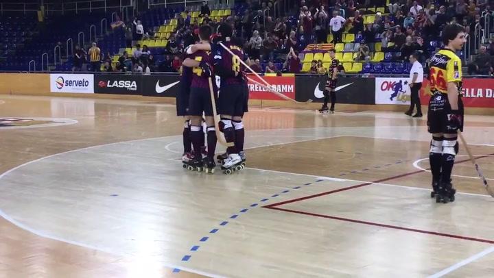 Matías Pascual marcó el gol de la victoria en el último minuto en el Barça - Noia de hockey patines