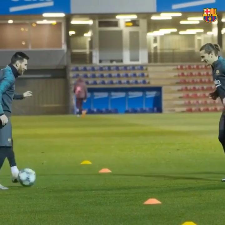 Buen rollo Messi-Griezmann en el entrenamiento