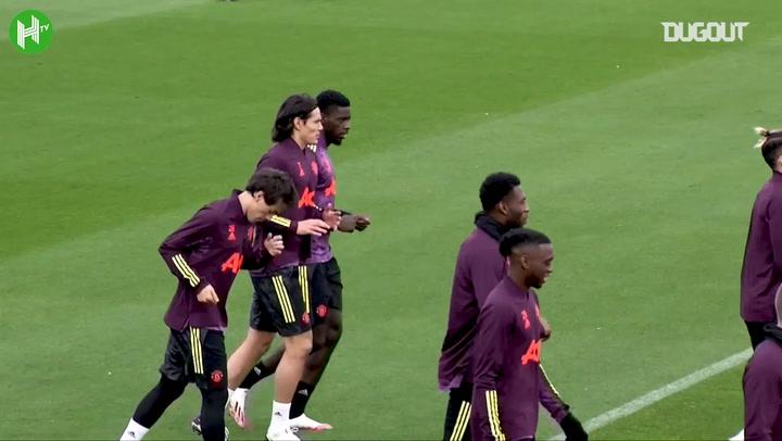 Cavani in Manchester United training ahead of PSG clash
