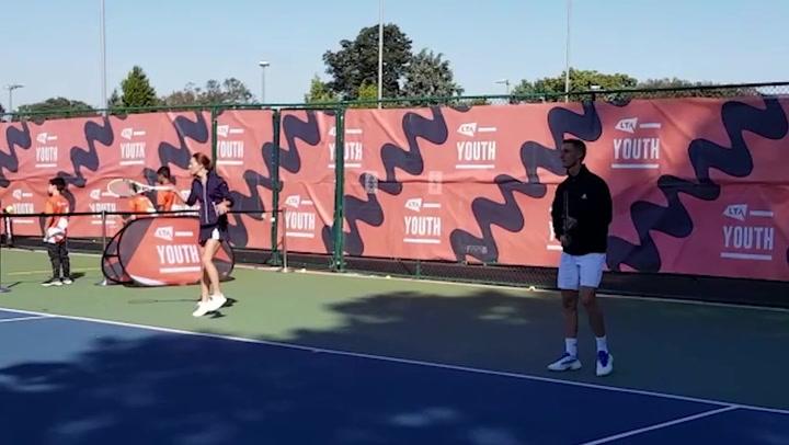 Kate Middleton plays tennis with US Open champion Emma Raducanu