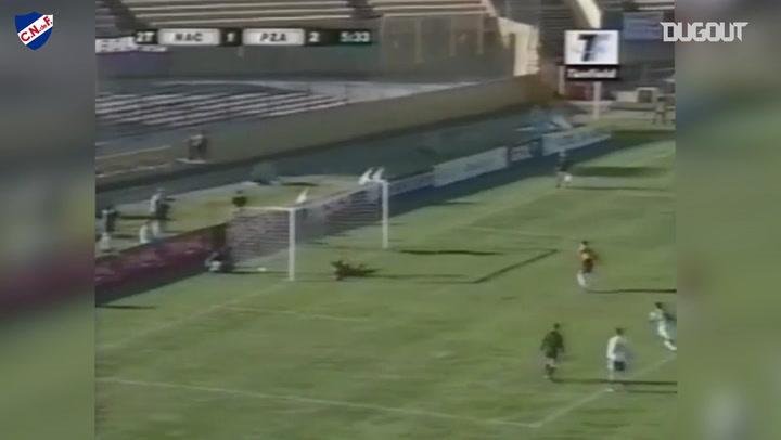 When goalkeeper Gustavo Munúa scored a penalty goal for Nacional halfway through a game