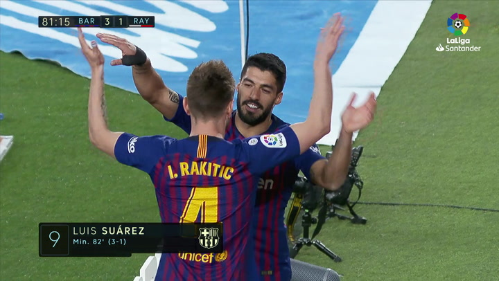 LaLiga: Barça-Rayo. Gol de Luis Suárez (3-1)