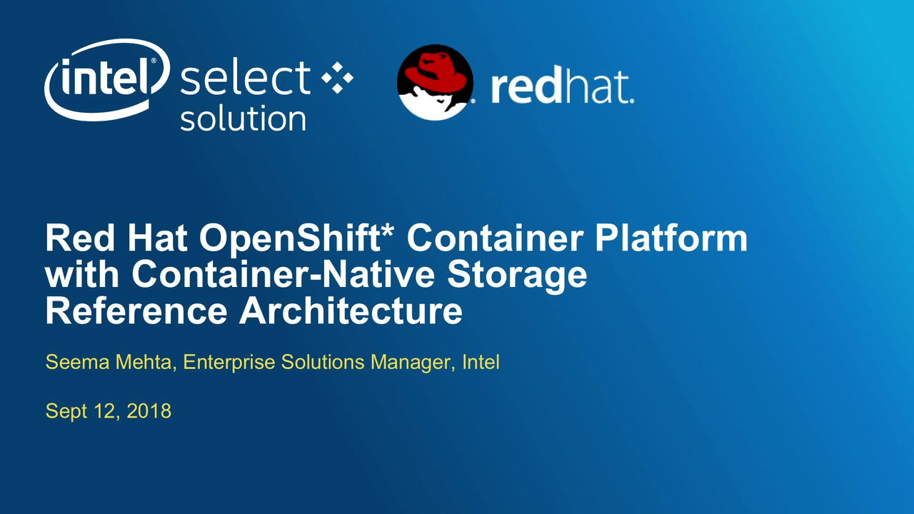 Chapter 1: Red Hat OpenShift* Container Platform with Container-Native Storage Reference Architecture