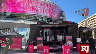 T-Mobile Tech Experience Truck parks in Toshiba Plaza at T-Mobile Arena