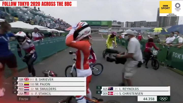 Bethany Shriever wins Olympic gold medal in women's BMX racing debut