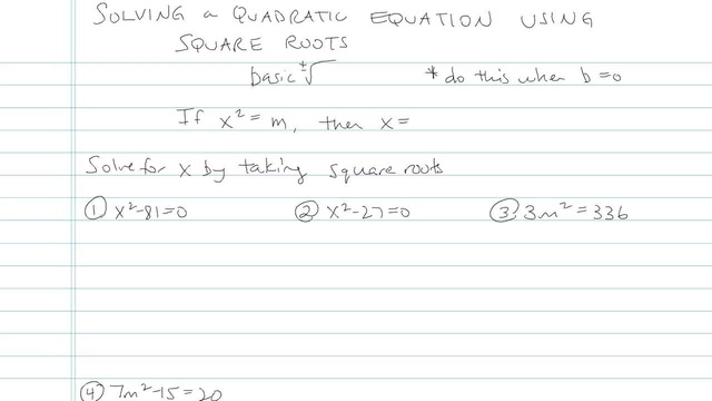 Solving Quadratic Equations Using Square Roots - Problem 8