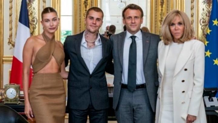 Justin Bieber and Hailey Baldwin meet French President Emmanuel Macron