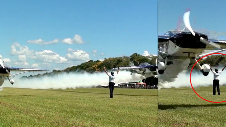 Skremmende nære: Her flyr to fly rett forbi ham