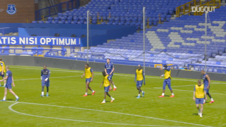 Everton take part in training game, ahead of Merseyside derby