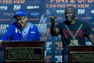 Pacquiao and Mayweather trainers speak with the press