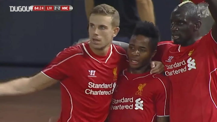 Raheem Sterling scores for Liverpool against Man City