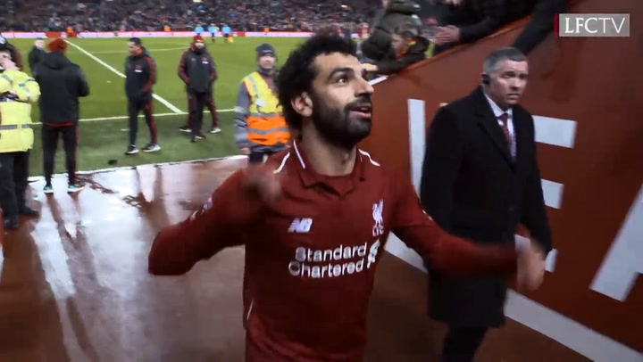 Salah and Pogba share a moment in the Anfield tunnel