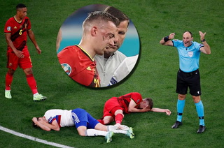 La terrible jugada que saca de la Eurocopa a futbolista de Bélgica: violento choque y seis fracturas en la cara