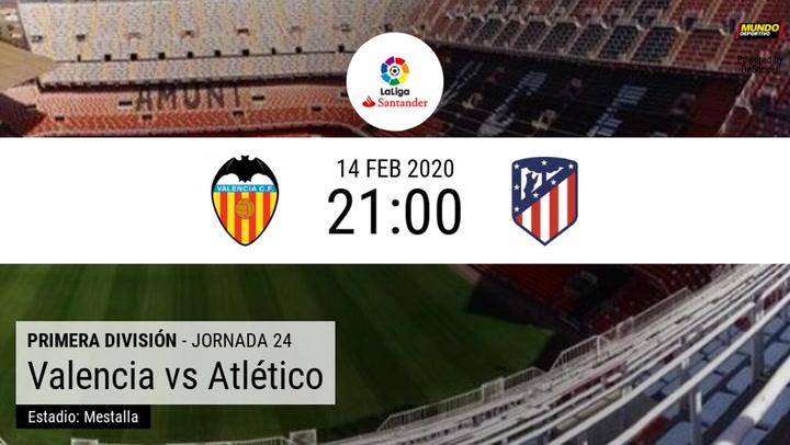 Valencia – Atlético de Madrid: la estadística de la previa