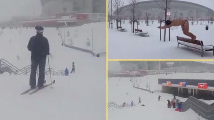 Las pistas de esquí y la piscina del Wanda Metropolitano