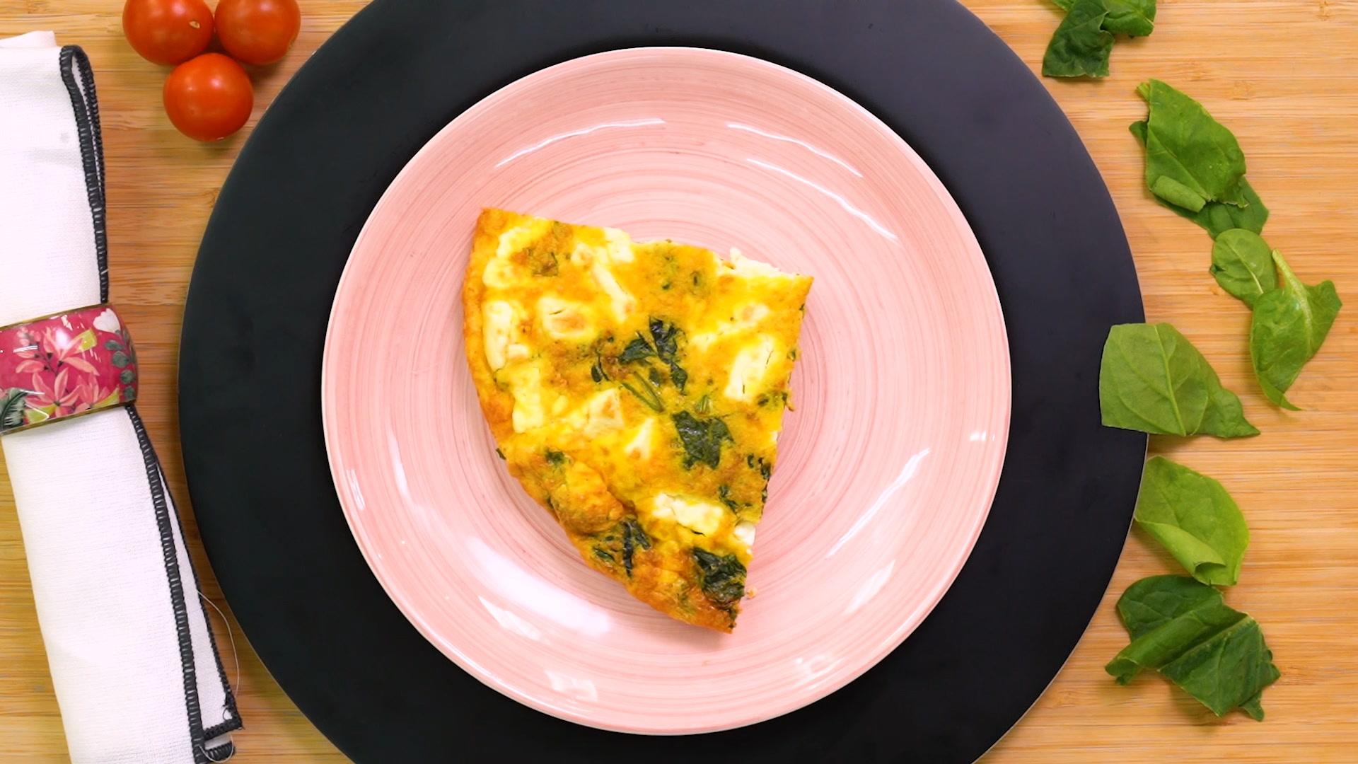 'Frittata' de tomates, espinacas y queso feta