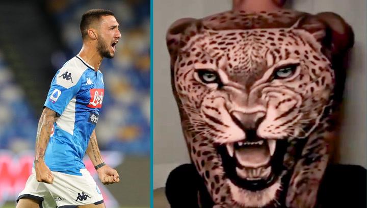 Matteo Politano intenta 'amedrentar' al Barça con su bestial tatuaje de un leopardo