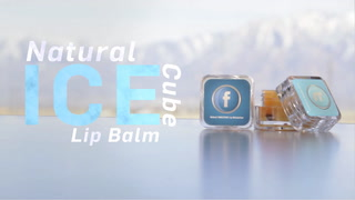 Natural Lip Moisturizer In Clear Square Ice Cube Container