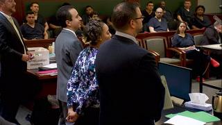 Las Vegas woman accused of pushing man off bus pleads not guilty