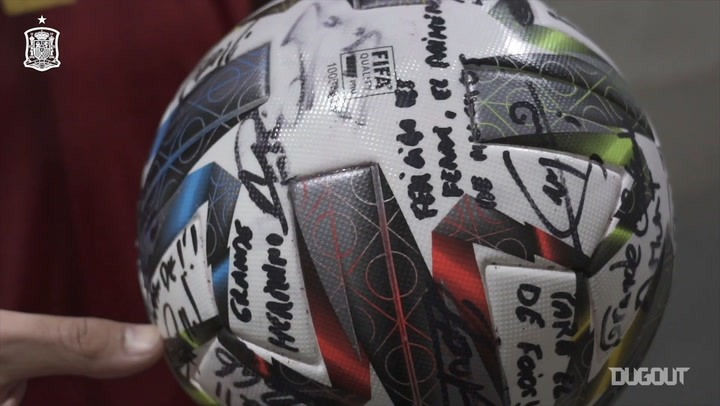 Ferran Torres shows his hat-trick signed match ball