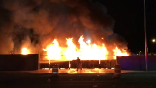 Las Vegas firefighters put out blaze along Bonanza Road