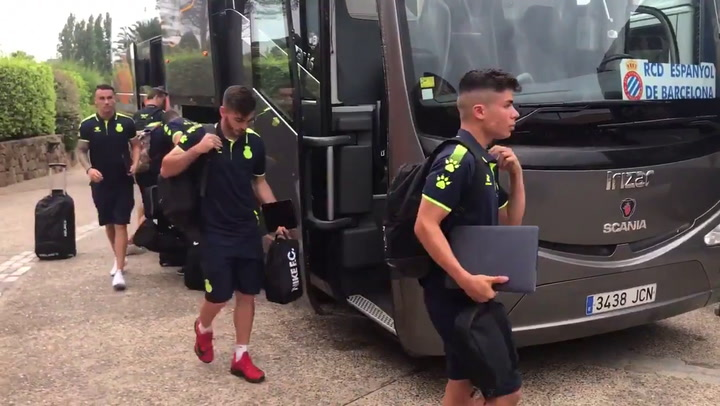 La llegada del Espanyol a Navata