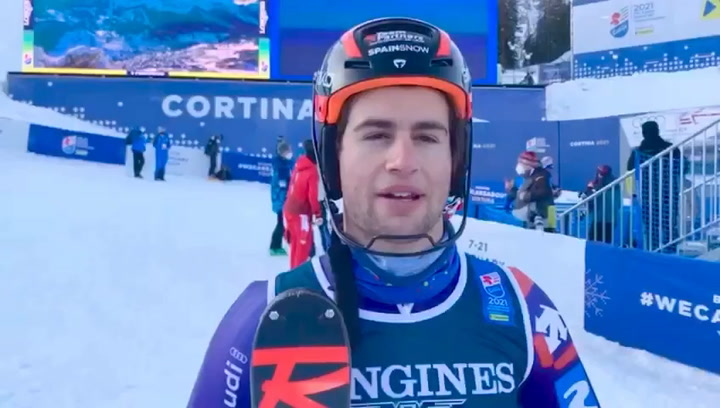 Albert Ortega, feliz tras entrar en el Top-12 de la Combinada del Mundial de esquí