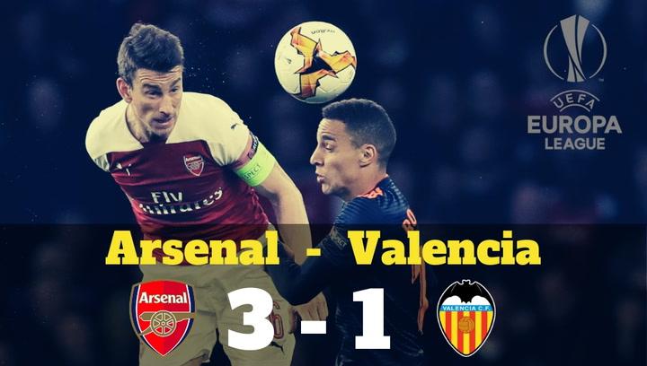 El Arsenal se impone al Valencia por 3-1 y le complica el acceso a la final de la Europa League