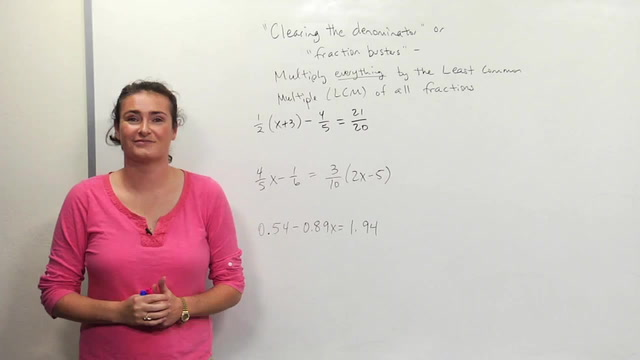 "Solving Equations with fractions and decimals by ""Clearing"""