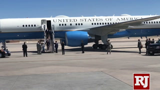 Mike Pence arrives at Nellis Air Force Base in Las Vegas to meet with Heller, Laxalt