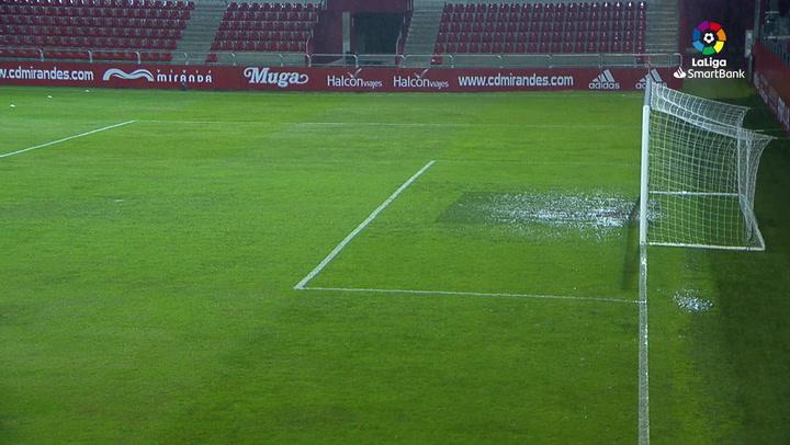 Aplazado el Mirandés-Zaragoza por las fuertes lluvias