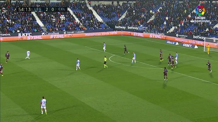 Gol de Kevin Rodrigues (3-0) en el Leganés 3-2 Celta