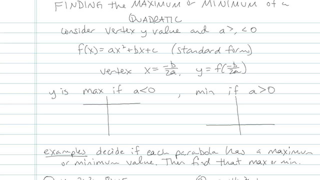 Finding the Maximum or Minimum of a Quadratic - Problem 4