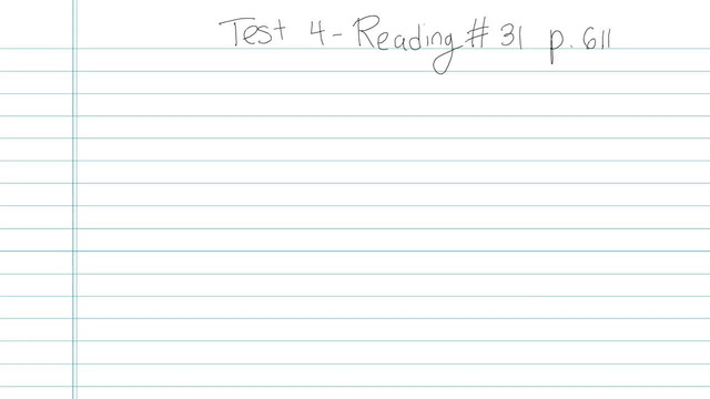 Test 4 - Reading - Question 31