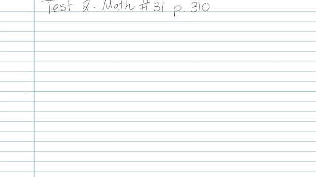 Test 2 - Math - Question 31