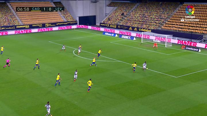 Gol de Roger (1-1) en el Cádiz 2-2 Levante