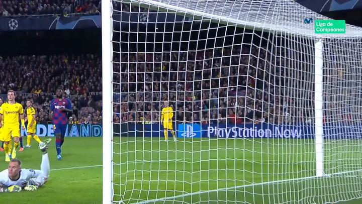 Champions League: Barça - Borussia Dortmund. Paradón de Ter Stegen a un gran disparo de Jadon Sancho