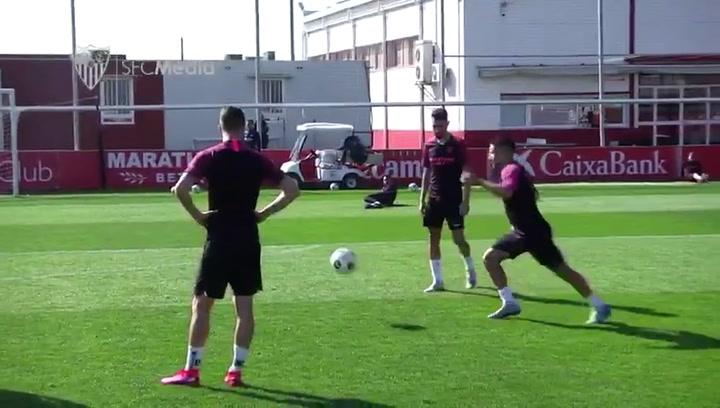 El Sevilla se prepara para jugar ante el Cluj en Europa League